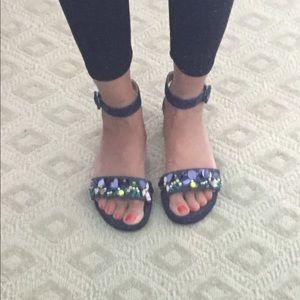 J.Crew denim with beaded accent sandals